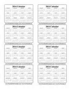 printable 2014 wallet calendar