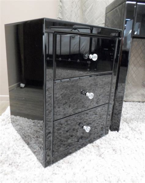 Mirrored Glass Nightstand Vegas Black Glass Mirrored Bedside Table Chest Nightstand Ebay