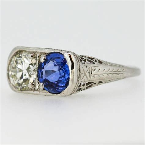 deco blue sapphire platinum ring for sale at