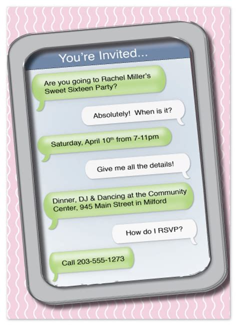 birthday invitation message sms invitations sweet 16 text me at minted