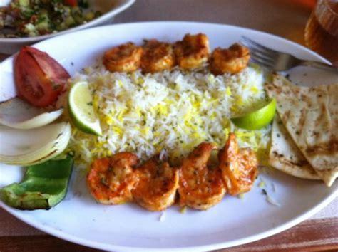 house of kabob mahi mahi and shrimp skewer salad grilled veggies pita