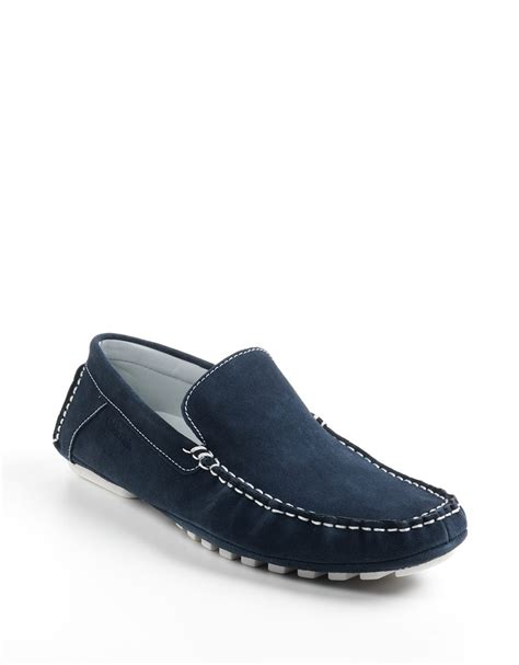 loafers calvin klein calvin klein deauville suede moccasin loafers in blue for