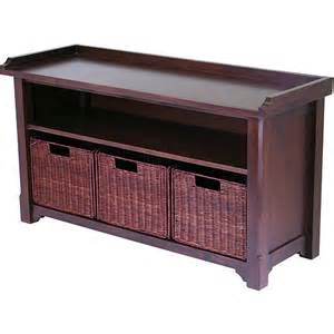 Wooden Storage Bench Wood Storage Bench With Baskets Walmart