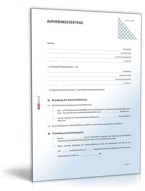 Kündigung Eigenbedarf Vorlage Schweiz Aufhebungsvertrag F 252 R Ein Arbeitsverh 228 Ltnis Muster Zum
