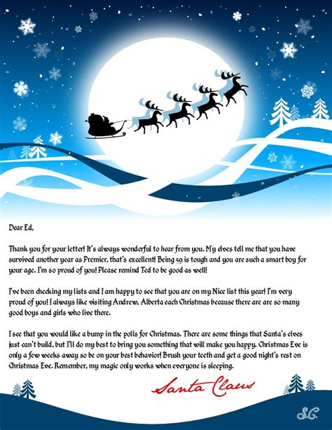santa letter reply template leaked santa claus letter to premier ed stelmach