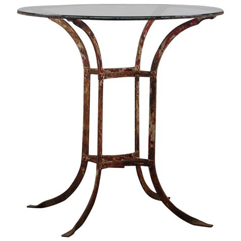 Wrought Iron Bistro Table Early 20th Century Wrought Iron And Glass Bistro Table At 1stdibs