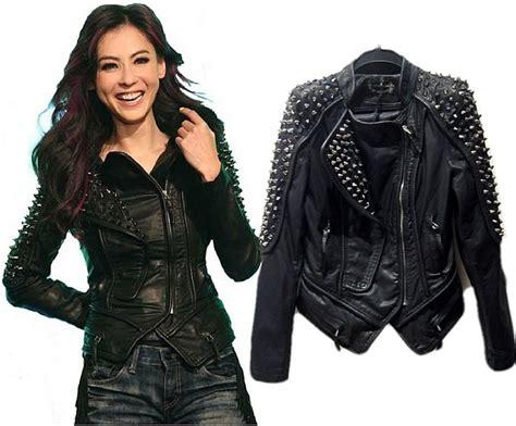 lady biker wear over 50 womens faux leather punk spike rivets biker jacket jpg