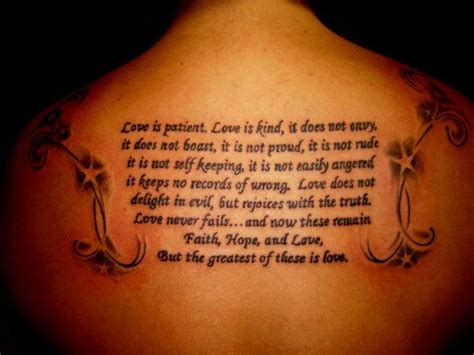 tattoo letters bible 1 corinthians 13 4 8 niv tattoo tattoo pinterest