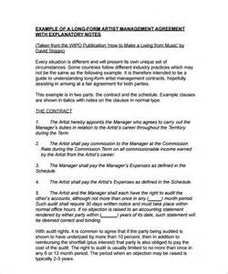 management contract template artist management contract template 7