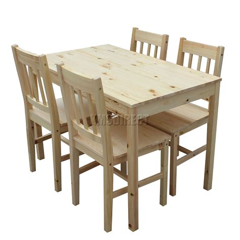 Wooden Dining Table Chairs Foxhunter Quality Solid Wooden Dining Table And 4 Chairs Set Kitchen Ds02 Pine Ebay