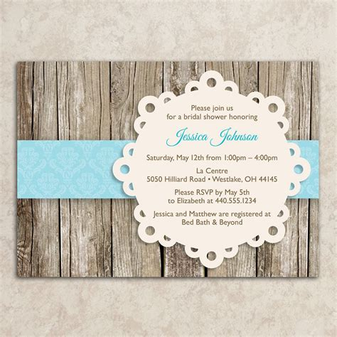 designer rustic bridal shower invitations country chic style wedding