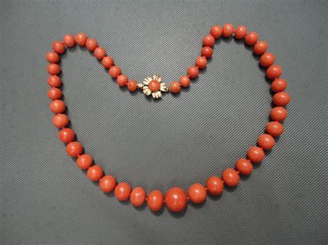 orange beaded necklace vintage orange mediterranean large beaded necklace 14k