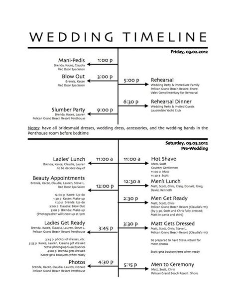 10 wedding timeline templates free sample example