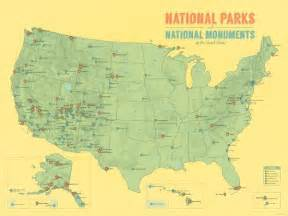 us national parks national monuments map 18x24 poster