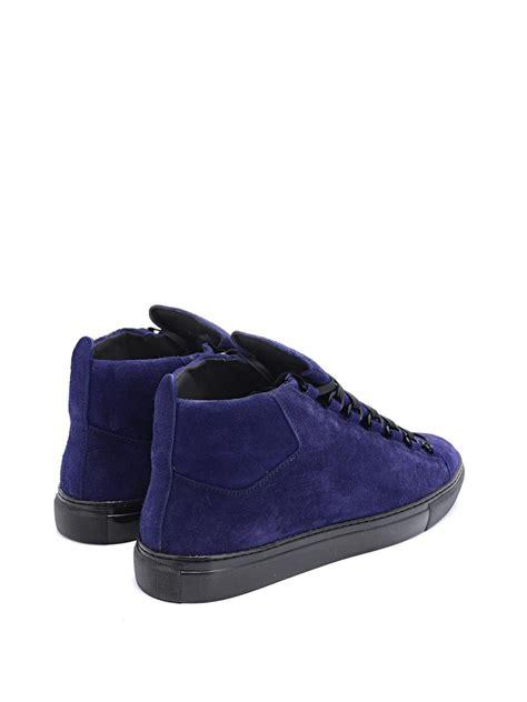 baleciaga sneakers lyst balenciaga arena suede high top sneakers in blue
