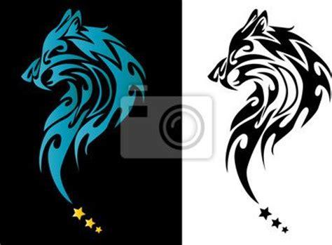 imagenes en blanco y negro de un lobo cuadro poster cabeza de lobo tatuaje con estrellas en