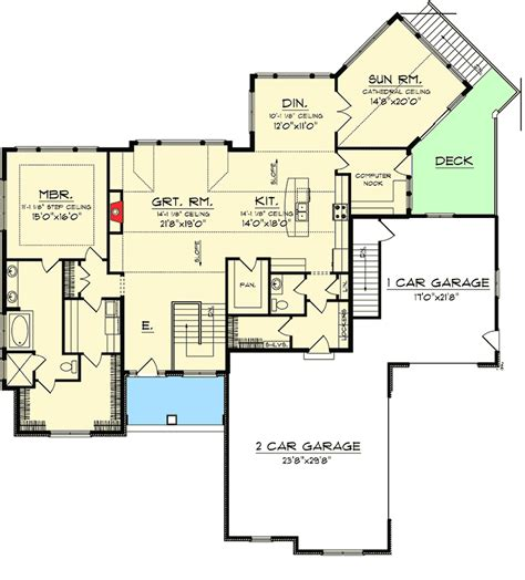 floor plans walkout basement craftsman ranch with walkout basement 89899ah 1st