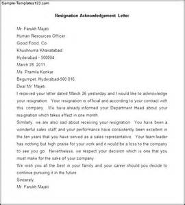 Acknowledgement Of Resignation Letter by Sle Resignation Acknowledgement Letter Sle Templates