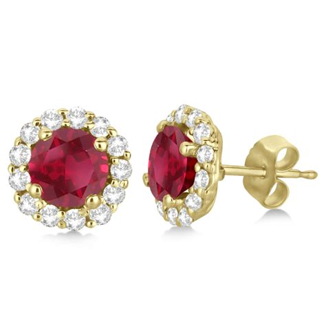 Ruby 2 95ct halo accented and ruby earrings 14k yellow gold 2 95ct