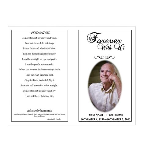 memorial phlets free templates forever with us funeral phlets