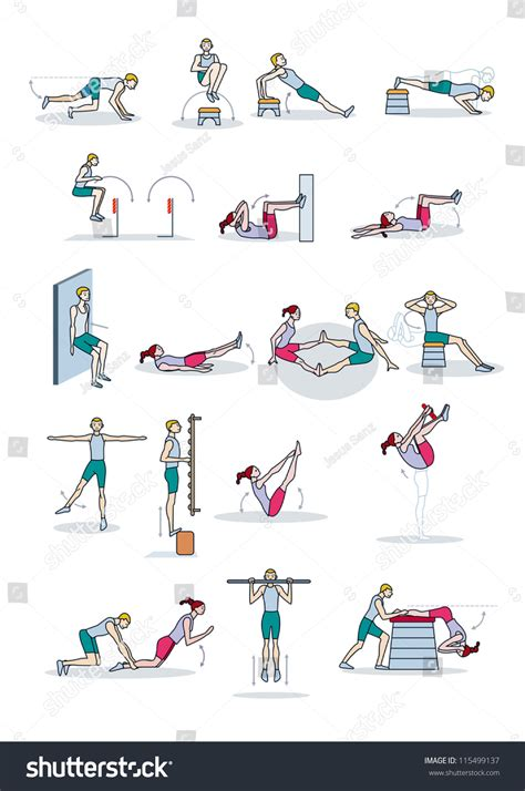 man woman perform physical exercise routine stock vector