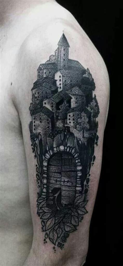 city of ink tattoos vintage style black ink shoulder of