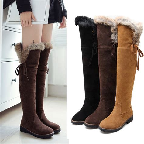 s fur lining winter snow boots flat heels