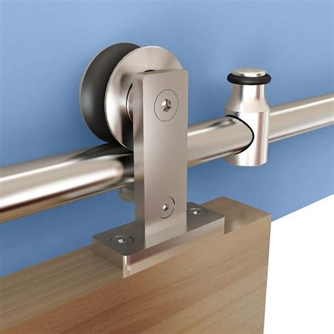 Barn Door Hardware Stainless Steel Rolling Barn Door Hardware Kit Stainless Steel Top Mount For Wood Doors Rockler Woodworking
