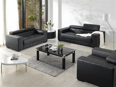 New Living Room Set Black Bonded Leather Modern 3pc Living Room Set