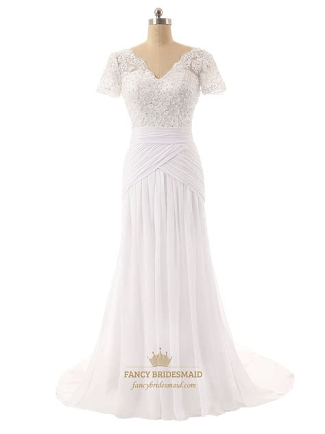 Chiffon Lace Dress lace bodice v neckline sleeves wedding dress with