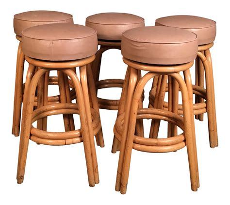 Set Of 8 Bar Stools by Vintage Rattan Bar Stools Set Of 5 Chairish
