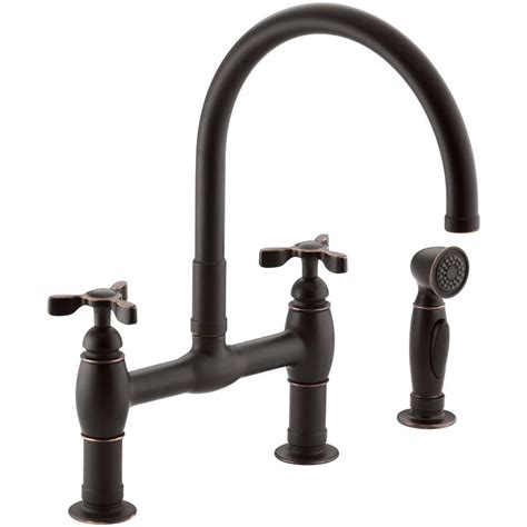 kohler rubbed bronze kitchen faucet kohler parq 2 handle bridge kitchen faucet with side