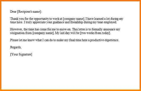 Formal Two Weeks Resignation Letter 6 Formal Resignation Letter With 2 Weeks Notice Weekly