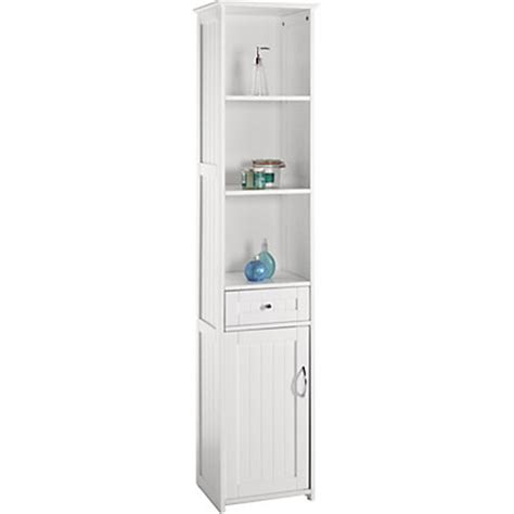 Homebase Bathroom Storage Tower Unit White