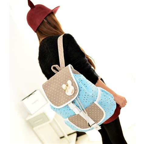 Rabbit Polka Backpack 2015 new rabbit printing dot backpack shoulder bag