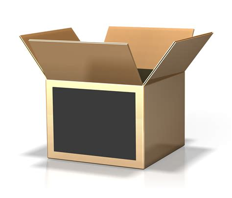 www box 3d rendering of an open cardboard box a white