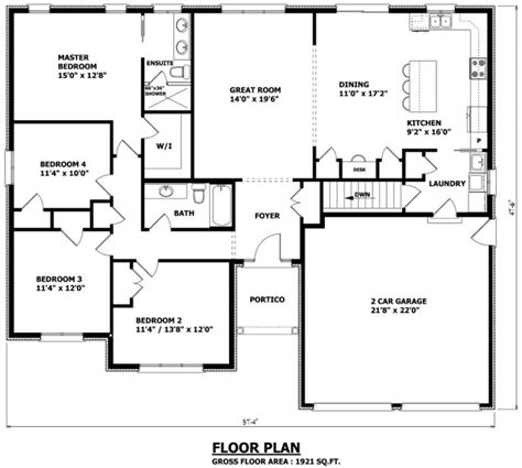 floor plan 2 bedroom bungalow 1921 sq ft 57 4 quot w x 47 6 quot d the edmonton bungalow