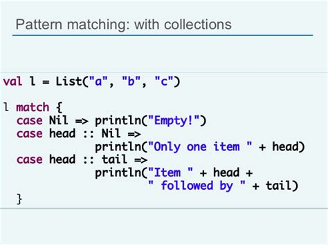 pattern matching scala list scala for java developers silicon valley code c 13