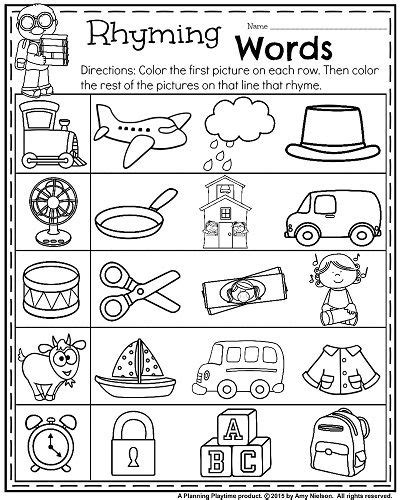 printable rhyming puzzles back to school kindergarten worksheets pinterest