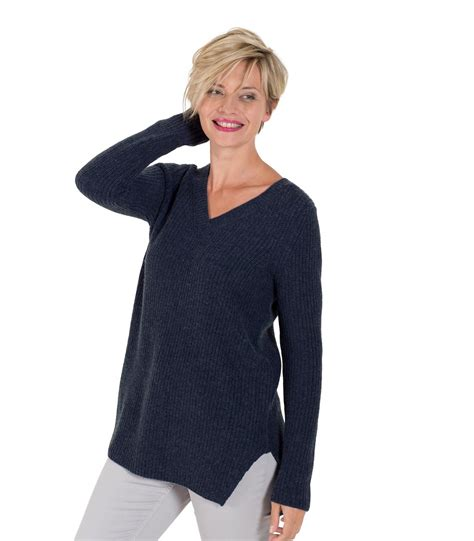 V Neck Chunky Sweater woolovers womens merino chunky v neck sleeve