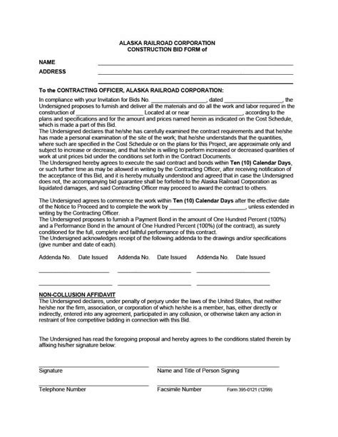 contractors bid template 31 construction template construction bid forms