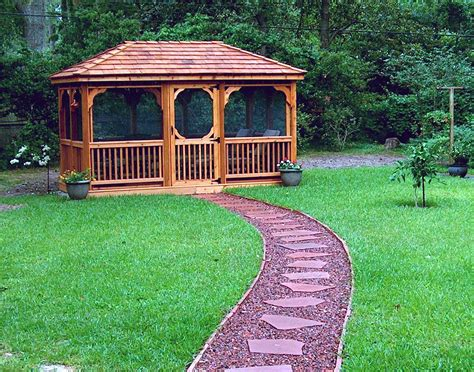 Backyard Creations 10x10 Gazebo Treated Pine Single Roof Rectangle Gazebos With Rubbed