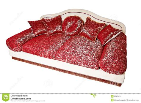red couch with pillows nice red sofa with pillows stock images image 27470274