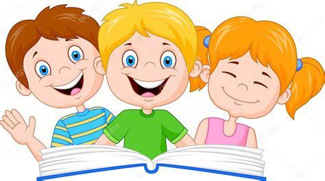 mont 243 n de libros de dibujos animados ilustraci 243 n vector imagenes de ninos leyendo libro ni 241 os de dibujos