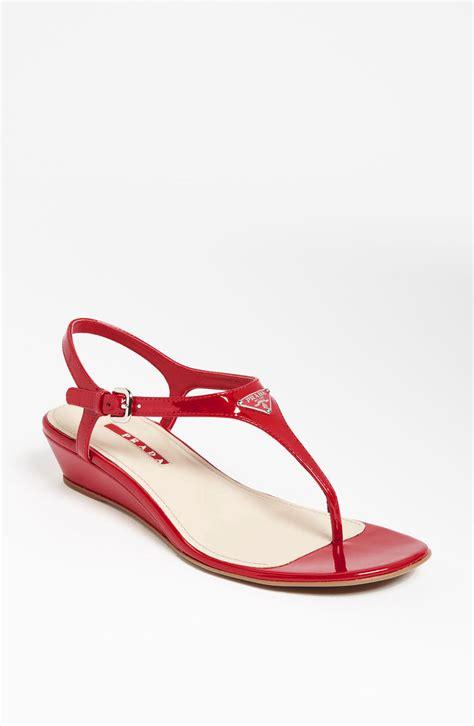 prada sandals prada logo wedge sandal ijshoes