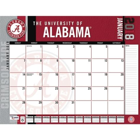 Alabama Calendar 2018 Alabama Crimson Tide Calendars Desk Calendar