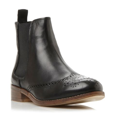 black brogue boots dune quentin brogue chelsea boots in black lyst