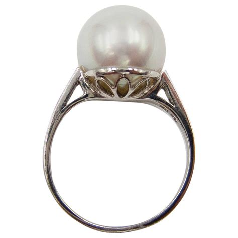elegantly simple south sea pearl platinum ring for