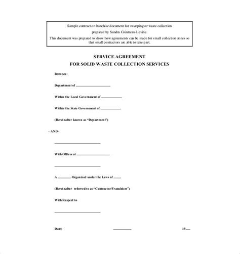 Service Agreement Template 10 Free Word Pdf Document Download Free Premium Templates Waste Management Contract Template