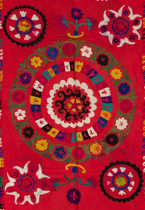 uzbek suzani embroidered textile used as throw wall hanging or vintage uzbek embroidered wall hanging or bed cover for